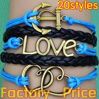 (Minimum order $5,can mix) Antique Silver Anchor Love Heart Bracelet One Direction Bracelet Blessing Bracelet