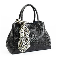Fashion big capacity shopping bag cowhide crocodile pattern genuine leather handbag large bag vintage shoulder bag leopard print