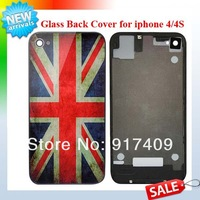 New Arrival US National Flag Pattern Glass Back Housing for Apple iPhone 4 4G 4s Battery Cover Replacement