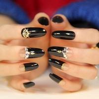 New 2014 fashion rivet decor long design oval full cover black false nails,free shipping