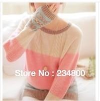 Free Shipping 2014 Hot Sale Women Long Sleeve Mint Pink Pullover Crochet Hollow Knitwear O-neck Jacquard Sweater N337