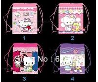 Free shipping 1PCS/LOT hello kitty Cartoon Drawstring Backpack Bag ,Children Kids Bag 34X27CM,schoobag,party gift-rt552