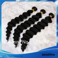 unprocessed 100% Indian remy  human hair weft ,8''-32''mix length 3pcs/lot ,AAAAA quality  deep wave 1b# color free shipping