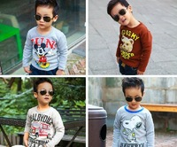 Child long-sleeve T-shirt thickening plus velvet basic shirt 2013 autumn and winter baby child male female child children's