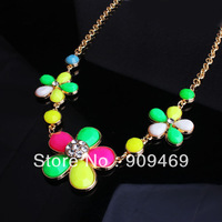 DuoYing Jewelry Factory DYN004 Free Shipping Fashion Alloy Flower Shape Necklace Hot Sale