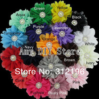 Free Shipping!50pcs/lot 3.2''Chiffon Flowers WITHOUT Clips,Fabric Solid Handmade Flowers For DIY Baby Girls Hair Accessories