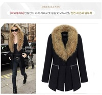 New Girls Fur Collar Thick Wool Coat fashion Ladies' Warm Long Sleeve Outwear Solid high quality Black big size