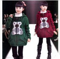 Free shipping children's outerwear for girls with cap for autumn and winter wholesale and retail