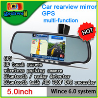 Black rear mirror for car 720P HD DVR+Bluetooth+Parking Sensor