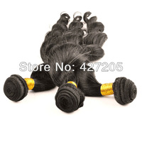 3pcs/Lot Brazilian Loose Wave Virgin Remy Hair Human Weave Hair Extensions Color 0# Natural Black 12-24 Inch  DHL Free Shipping