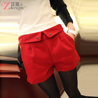 2013 autumn women's autumn and winter Women plus size black casual woolen suit shorts