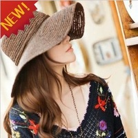 2013 New Fashion Summer Large Brimmed Straw Hats For Women Folding Beach Cap Free Shipping