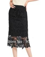 Free Shipping Plus size Fashion Women high waist slim lace skirt, over-the-knee long Lace skirt :S M L XL XXL XXXL XXXXL Black