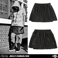 2013 men's clothing hi-stree yeezy male leather skirt culottes leather pants pyrex