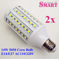 2pcs+free shipping AC110V/220V/230V LED SMD 5050 Corn Bulb E14/E27 Screw Socket 14W 84PCS 5050 Corn Lamp 60*126mm CE ROHS