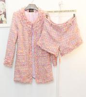 Autumn small slim long design outerwear tweed fabric shorts set b15-03