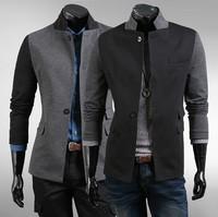 Winter blazer men splicing color jacket suits for men fashion pocket men suit coat designs slim stand collar free shipping