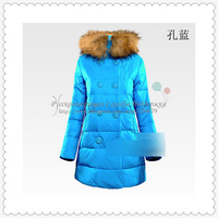 Children skinny fur collar down jacket for girls winter outwear fashion child clothing SCG-1025D Free Shipping 2013 Russian