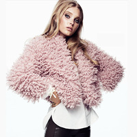 HD013 winter 2014 spring europe brand new fashion pink circle wool no bukcle Boleros fur short jacket coat warm women plus size