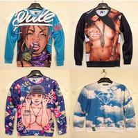 Free shipping women/men 3D stereo sweater Galaxy hoodies sweatshirt Egyptian Pharaoh/Panda/Tiger animal print pullovers S M L XL