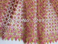 Fushia Gold Metallic Chemical French Lace Swiss Voile African Lace Fabric Sequins 068