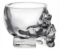 Free Shipping 4pcs/lot  wholesale Wine vodka glass Crystal Skull Head Glass creative shot glass 75ml