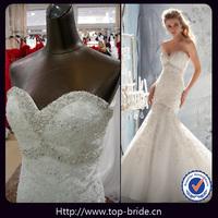 TBM1969 Real Beaded Pearls Lace Mermaid Designer Bridal Dresses
