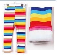 free shipping 2014 girls winter fleece rainbow leggings children fahion striped warm leggings kids children Trousers