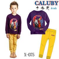 Free shipping new 2014 boys kids spring clothing set Naruto children pajamas Purple cartoon 100% cotton clothes suits Wholesale