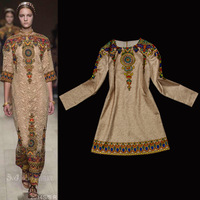 2014 Spring Luxury Brands Dress Women's Vintage Long Sleeves Royal Baroque Print Bohemian Mini Dress