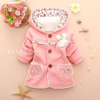 The new autumn and winter rabbit pendant + behind Bear children's clothing wholesale cotton girls sweater winter coat