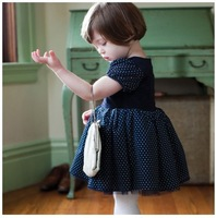 Free Shipping 1pcs Children Girl's Clothing Lace Dots Dress  Navy For 1-3T Baby Toddler Girl