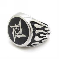 2013 New Men's motorcycle Flame ring stainless Steel Cool Shuriken Rings biker jewelry free shipping
