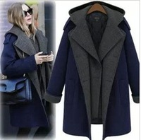 2013 Spring women's woolen twinset medium-long overcoat,Ms splicing trench coat,women's fashion outwear,spring coat for women