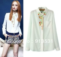 wholesale 2014 new arrival Retro embroidery long sleeve blouses / turn-down collar white shirt free shipping