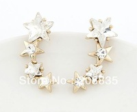 Fashion 18K Gold Plated CZ Rinestone Star Earrings Five Star Earring With CZ Stone