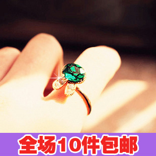 0886 small accessories green gem full rhinestone crystal bow diamond rabbit ring women's finger ring(China (Mainland))