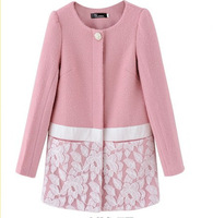2014 Spring women's medium-long lace woolen outerwear coat,South Korea's sweet spring coat,Brand trench jacket for women