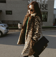 13 autumn and winter women luxury leopard print thermal print long-sleeve cardigan loose outerwear 1589