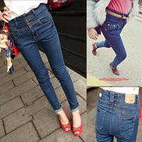 2013 spring and summer new arrival Women single breasted denim jeans high waist skinny pants pencil pants