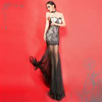 Free shipping long mermaid lace evening dress 2014 new sexy formal dresses party evening elegant vestidos de fiesta kaftan