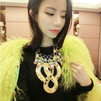 European Vintage Exaggerated Mental Choker Gold Plated Letter Necklace Fashion Punk Collar Jewerly For Christmas Gift KCSM958