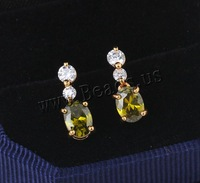Free shipping!!!Brass Drop Earring,jewelry lot, 18K gold plated, with cubic zirconia, nickel, lead & cadmium free, 17.5mm