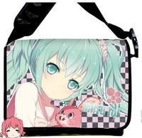 Free Shipping 2013 NEW  Style Hatsune Miku Anime surrounding canvas shoulder bag  Inclined shoulder bag chool bag