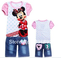 summer casual baby girls's 2piece set Children's clothing sets suit short-sleeve t-shirt + jeans short pants