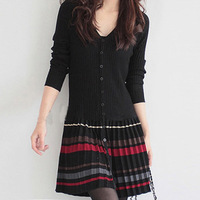 Free shipping+Hot sale 2013 autumn and winter women's sheep wool knitted long sweater design one-piece dress black