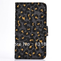Tech21 Case For iphone 4 4s ,Bling Glitter Leopard wallet leather Case with card slot For iphone 4 4g 4s Free shipping 1pcs