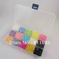 Free shipping 18000pcs/BOX 3mm Mixed 15Color Half Pearl Flat Back Gem Scrapbook Craft /DIY nail art Compartment Plastic Box