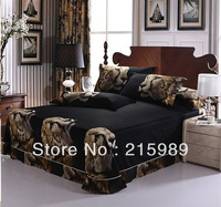 100%Cotton 4pcs queen King size 3D oil painting Leopard bedding sheet set Comforter cover /Bed linen/bed sets