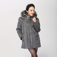 Quinquagenarian nick coat wadded jacket cotton-padded jacket snowshoe liner fur collar female plus size plus size mother of the